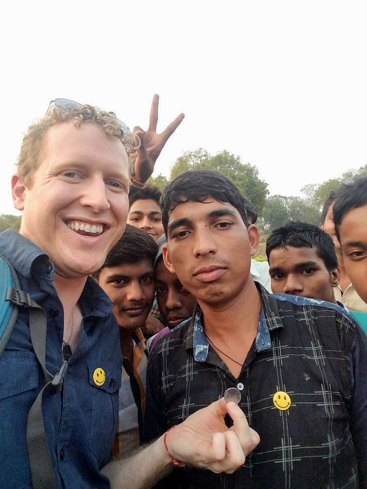 Chris Butsch in Sarnath India with a memorable Rupee coin