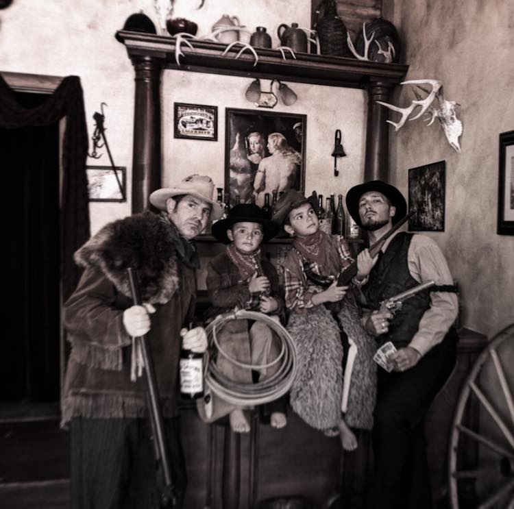 Taylor Family dressing in costumes Montana Picture Gallery photo studio Virginia City Montana