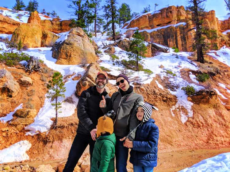 Taylor Family at Moss Cave hiking in Bryce Canyon National Park