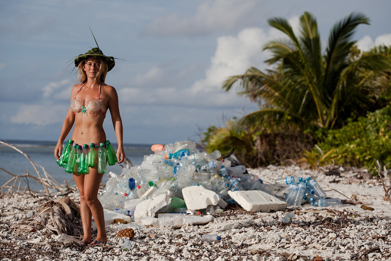 Alison Teal wearing a swimsuit made of plastic bottles