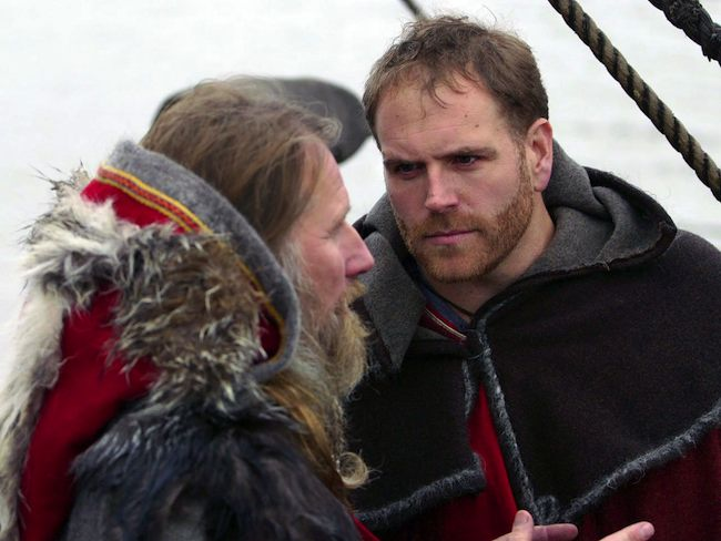 Josh Gates and a Viking