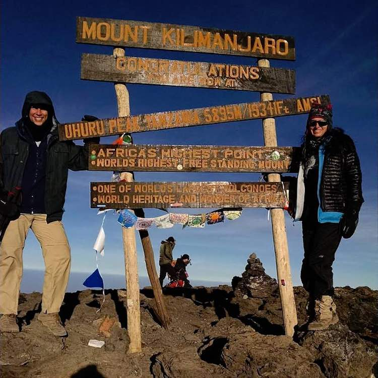 Frank and Cathy Merrifield atop Kilimanjaro, RoarLoud